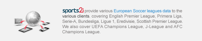 provide various European Soccer leagues data to the Web Portals and wireless service pages , covering EPL, La Liga, Serie-A, Bundesliga, League 1, Nederland League, Scotch League.  We also cover UEFA Champions League, J-League and AFC Champions League.